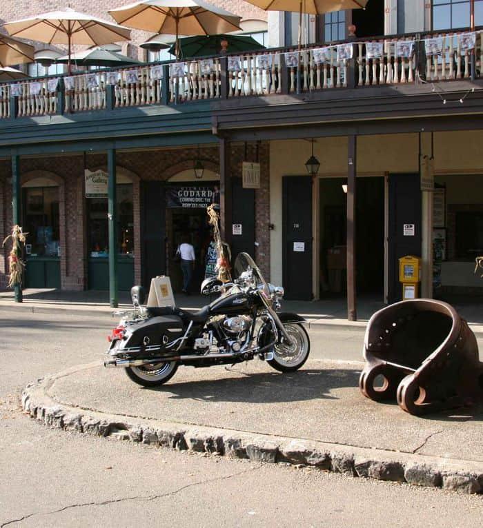 Motor cycle parking on the Median in Sutter Street Folsom.