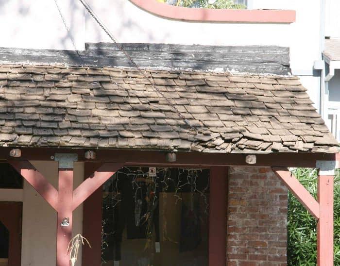 Deteriorating shed roof, Sutter Street Folsom.