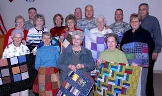 Members of the Quilts of Valor Foundation chapter based in Columbus, Ind., were awarded certificates of appreciation by Indiana Adjutant General Maj. Gen. R. Martin Umbarger and Command Sgt. Maj. James Brown