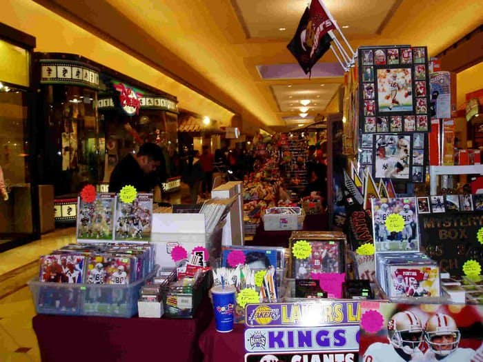A selection of sports memorabilia available at Sunrise Mall Sports Card Show.