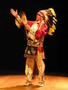 Louis Mofsie (Hipi/Winnebago) is emcee of 'Thunderbird American Indian Dancers' Annual Dance Concert and Pow Wow at Theater for the New City, NYC. Photo by Jonathan Slaff.