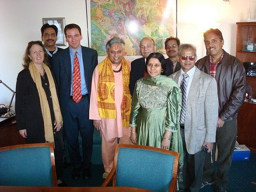 Rajan Zed with Andrew Romanoff, Speaker of the Colorado House of Representatives and leaders of the Hindu community of Colorado.