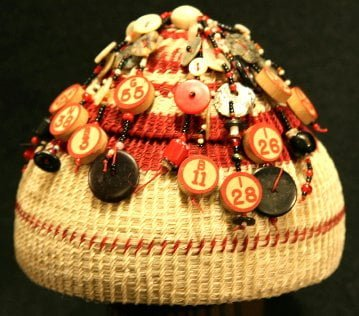 Gaming basket Bingo at Our House: Natural white and dyed horsehair, vintage Bingo tiles and buttons, Abalone and Mother of Pearl Buttons, and Glass beads, by Linda Aguilar
