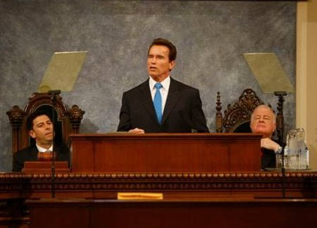 Governor Arnold Schwarzenegger delivering the State of the State address in the Assembly Chambers of the State Capitol, Sacramento, CA.