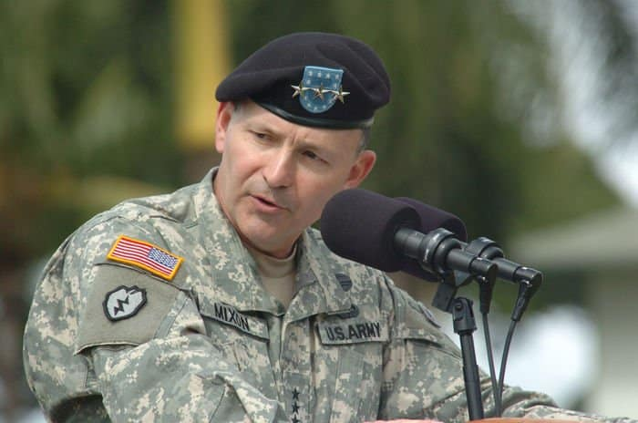 Lt. Gen. Benjamin R. Mixon, commanding general, United States Army, Pacific, speaks to the audience during the change of command ceremony on Fort Shafter.