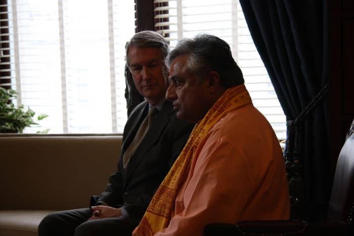 Rajan Zed with Utah Senate President John L. Valentine after the historic prayer.
