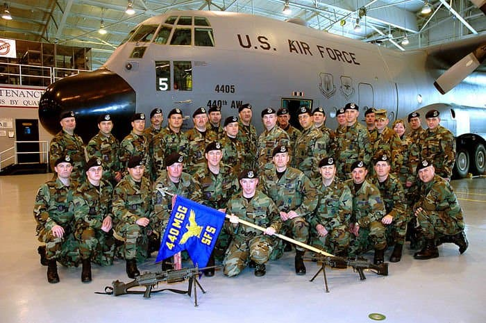 The 440th Security Forces pose for a squadron photo at Pope Air Force Base, N.C.