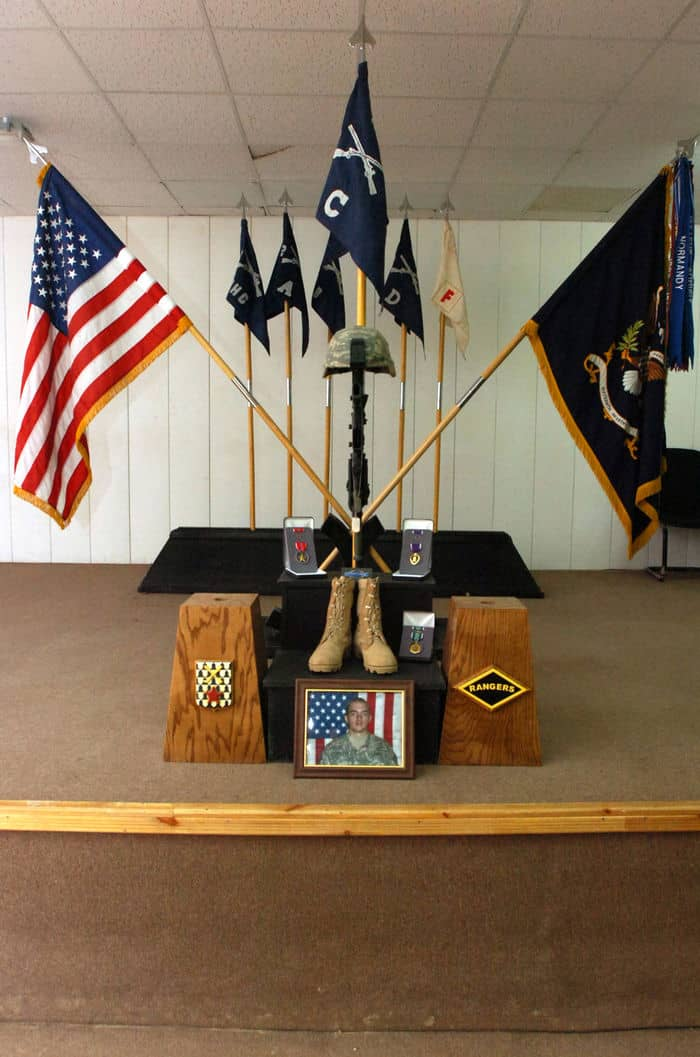 A memorial stand honors Spc. Duncan Charles Crookston, a 19 year old radio telephone operator and Infantryman from Denver, seriously wounded and succumbed to his injuries, one day before his 20th birthday.