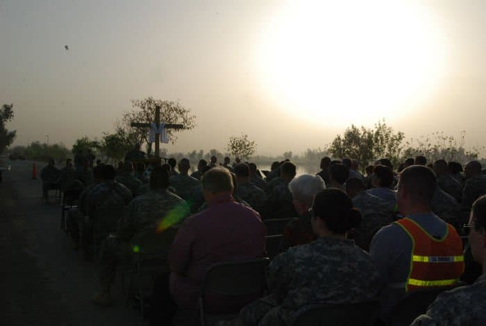 Chaplain Lt. Col. James Carter, 4ID division delivers inspiring words.