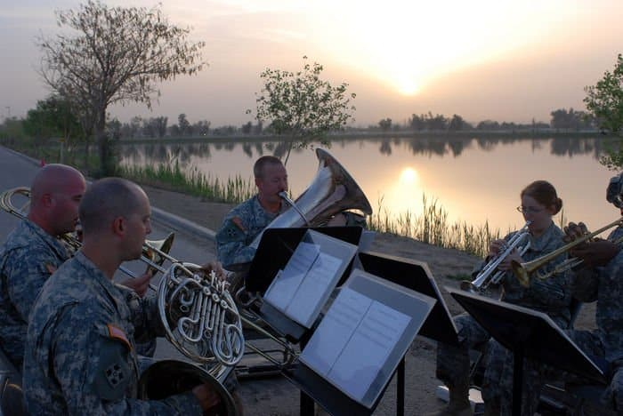 Soldiers from the 4ID Ironhorse Band perform for Easter sunrise services at Camp Liberty, Iraq.