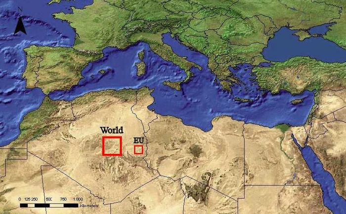 Map, the larger red square shows the area of hot desert needed to produce as much electricity as the world currently uses.
