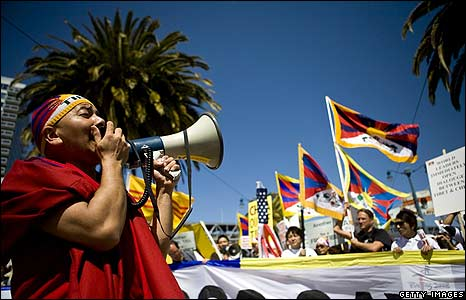 Pro Tibet demonstrators in San Francisco.