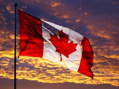 Canadian flag at sunset