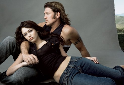 Miley Cyrus and Billy Ray Cyrus.