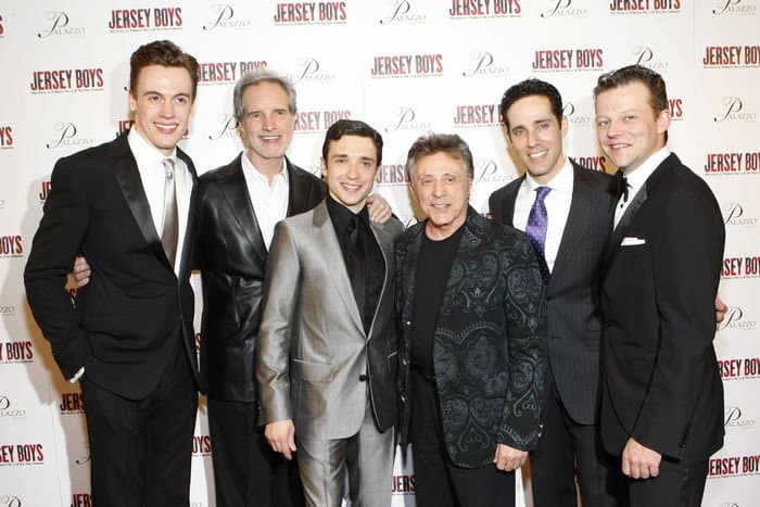 Cast of Jersey Boys with lead singer of Frankie Valli and The Four Seasons.