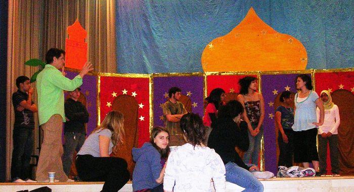 Mr. OConnell at Saturday rehearsal of 1001 Arabian Nights.