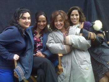 Luz Ellena Rubio, Judy Reyes, Marlene Forte, and Ana Ortiz on the set of Little Girl Lost: The Delimar Vera Story