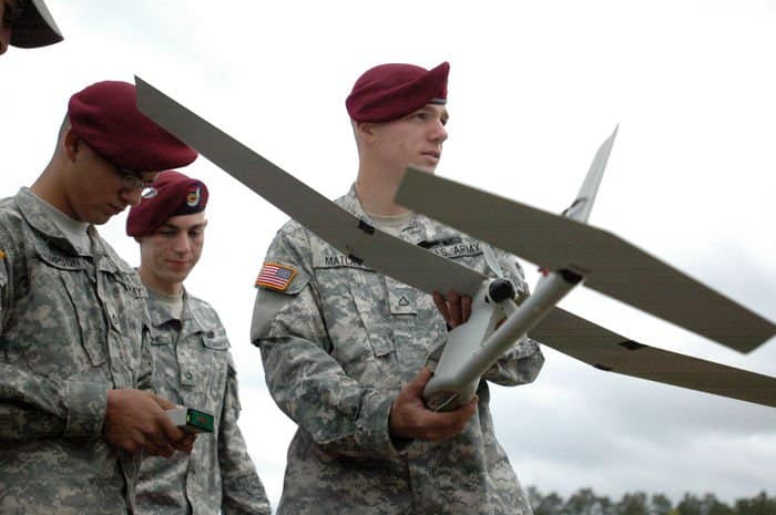 Pfc. Kyle J. Matlack, infantryman, Company B, 1st Battalion, 505th Parachute Infantry Regiment, 3BCT, 82nd Airborne Division, holds a Raven prior to launching it.