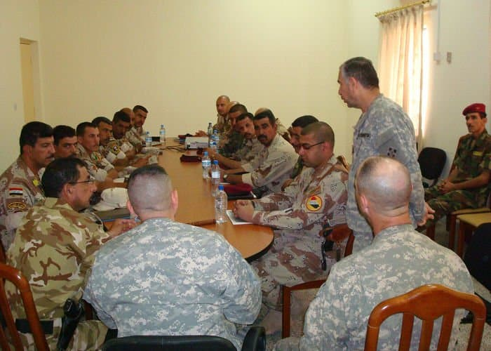 Senior enlisted leaders in the 6th Iraqi Army Division gather together for the first time to discuss issues within the division with Command Sgt. Maj. Ayad, the division senior enlisted leader.