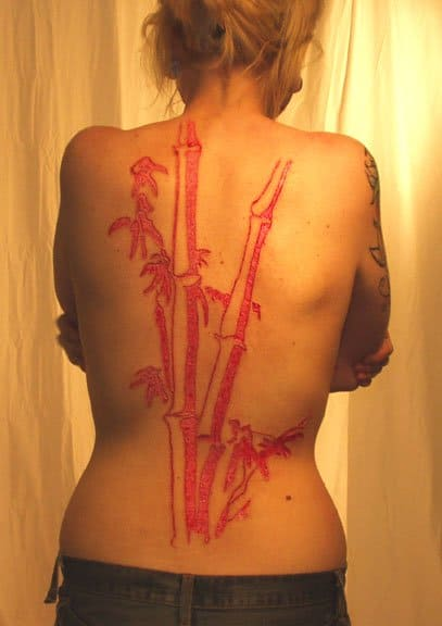 Body Carving as the red shows through.