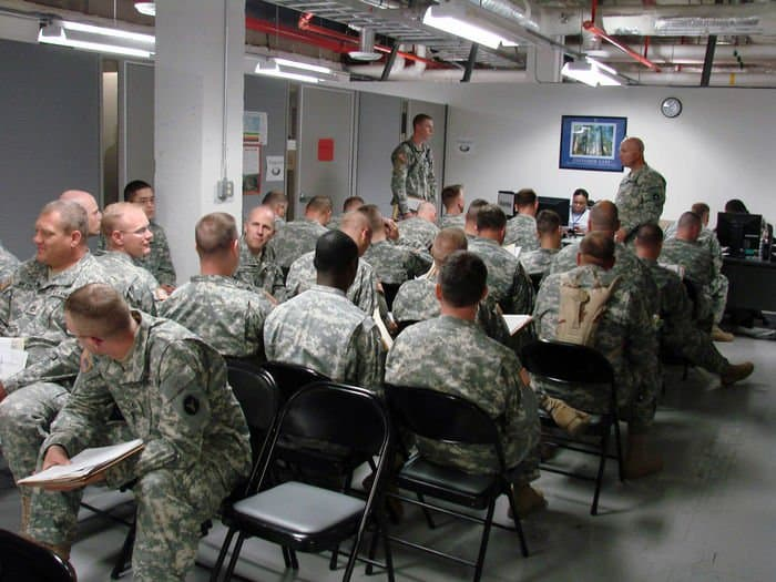 34th Combat Aviation Brigade Soldiers wait to be seen by medical providers at the new consolidated Soldier Readiness Process center