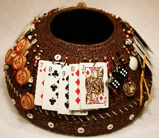Aguilar Shebang, Natural horsehair, vintage dice, bingo chips, miniature playing cards, glass beads, shells, mother of pearl, abalone bottoms.