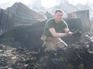 A Marine after the fire