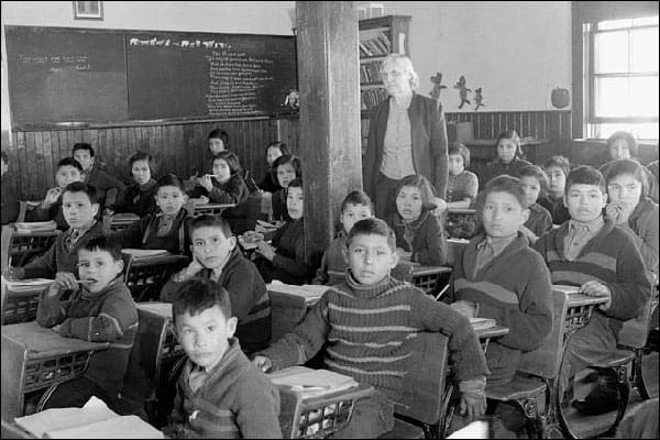 Cree students at the Lake La Ronge school in La Ronge, Saskatchewan, 1949