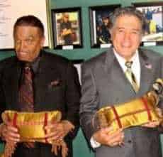 Golden Pillow awarded to Joe Jackson, left, and Nelson Sardelli in Las Vegas at Ben Ardito Take 1 supper club.