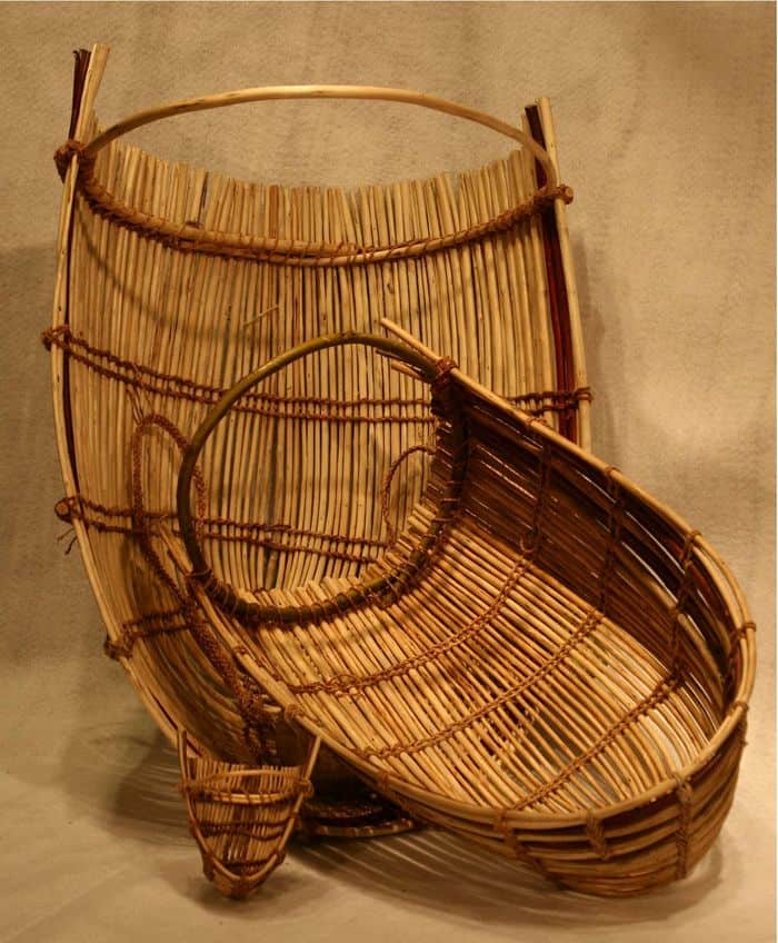 Three Pomo baby baskets