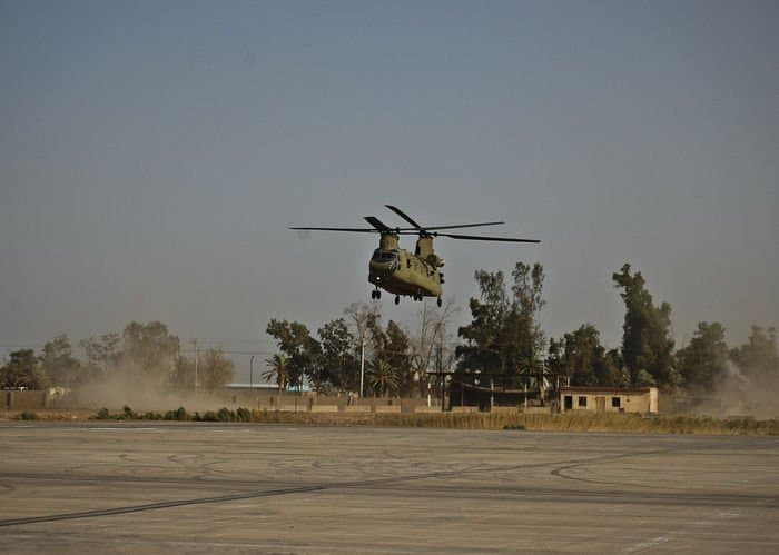 A Combat Aviation Brigade CH 47F Chinook prepares to land after test maneuvers.