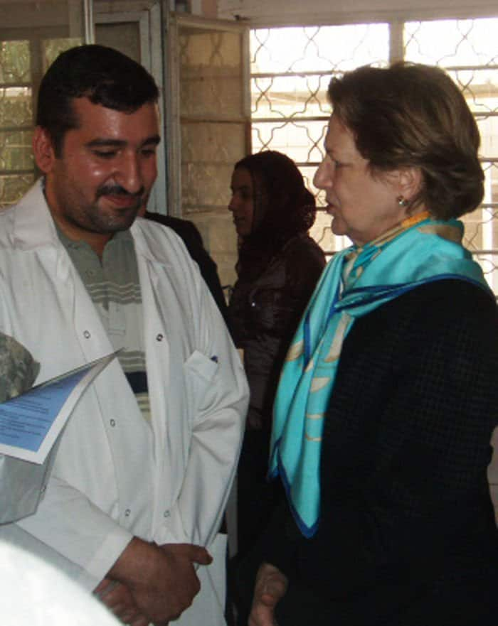 Baroness Nicholson of Winterbourne is briefed on the proposed improvements for the Bayaa Clinic in West Rashid.