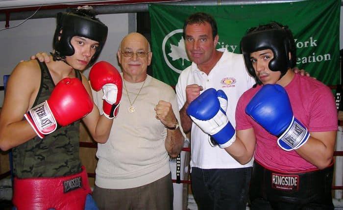 Alex Volkov in Red Gloves, Boxing coaches Steve Maiorano and Tony Paolillo, David Mendoza in Blue Gloves.