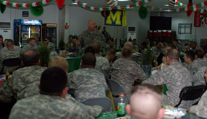 Command Sgt. Maj. Dennis Carey, the senior enlisted leaders of U.S. Army Forces Command, visits with Soldiers from the 3BCT, 4ID, at FOB War Eagle, in the Sadr City District of Baghdad.