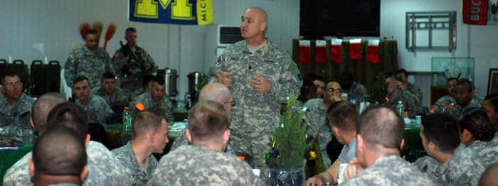 Command Sgt. Maj. Dennis Carey, the senior enlisted leader of U.S. Army Forces Command, visits with Soldiers from the 3BCT, 4ID, at FOB War Eagle.