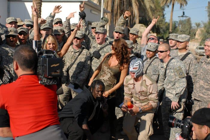 World Wrestling Entertainment Superstars and MND B Soldiers from 3BCT, 4ID film a shoutout to be aired during the WWE Holiday Tribute to the Troops performance