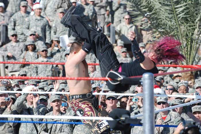 WWE Jeff Hardy launches himself at The Miz during the WWE Tribute to the Troops.