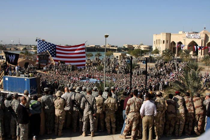 Troops from all over Victory Base Complex cheered for their favorite WWE wrestlers at the Tribute to the Troops Tour in front of Al Faw Palace.