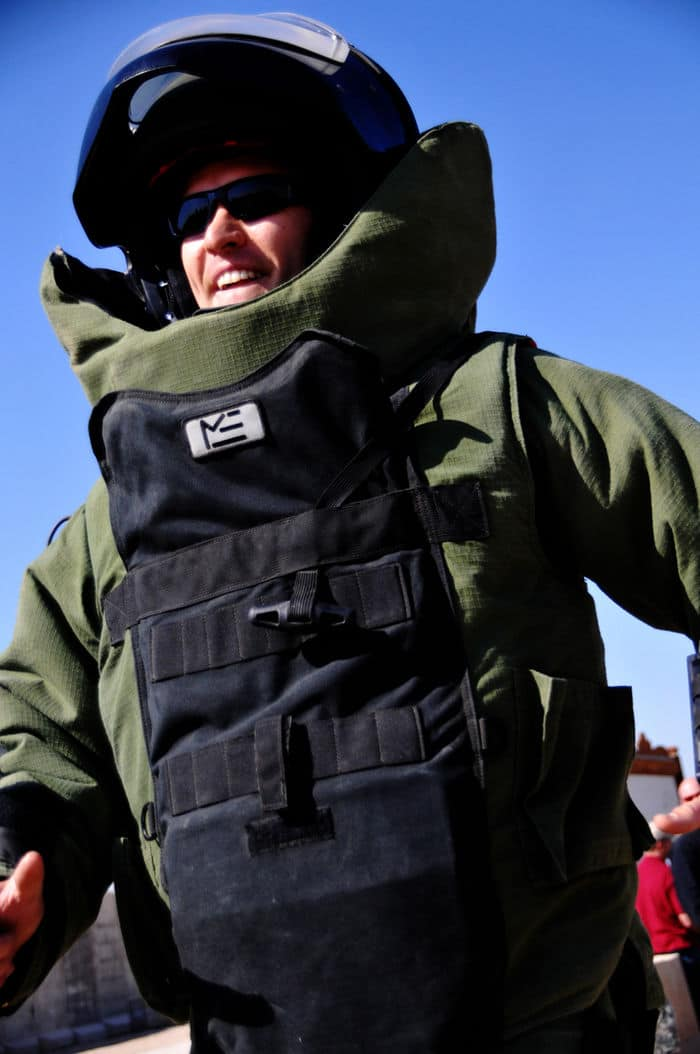 Navy Lt. Jonathan Kehoe, commander, Plt. 602, 63rd Bn., EOD Mobilization Unit 6, based out of Little Creek, Va., and attached to 2nd BCT, 4th Inf. Div., runs for the Guinness World Record for the fastest mile in a bomb suit at Camp Echo.