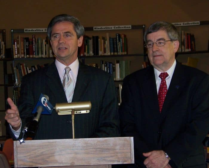 Congressman Sestak introduces scholarship with PIT President John Strayer2