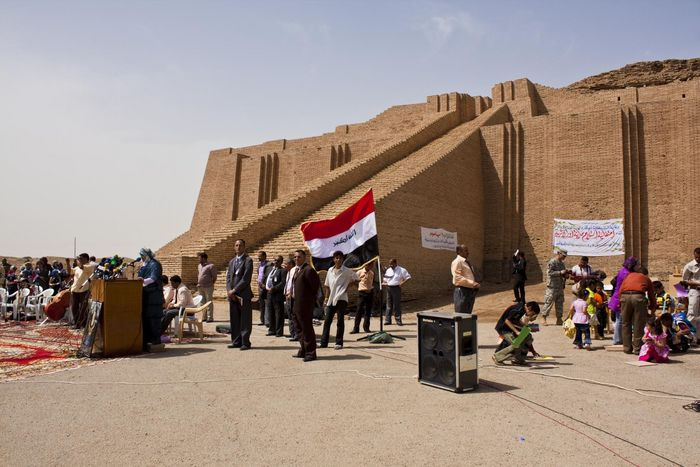 View of the Ziggurat of Ur, as it was ceremoniously transferred back to the Iraqi security forces.