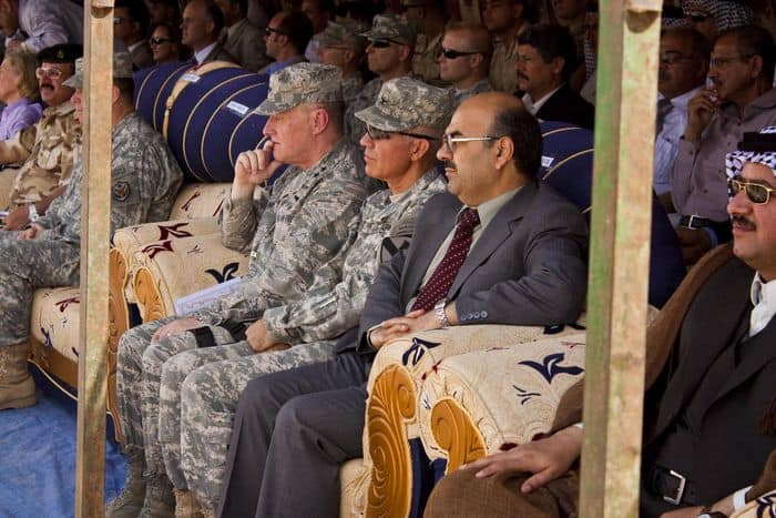 Col. Philip Battaglia, the 4th BCT, 1st Cav. Div. commander and Iraqi officials at the handover of the Ziggurat of Ur.