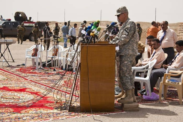 Col. Philip Battaglia, the 4th BCT, 1st Cav. Div. commander speaks at the handover of the Ziggurat of Ur to Iraqi forces.