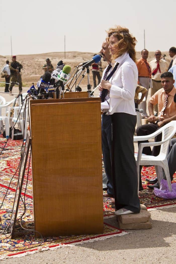 Dr. Anna Prouse, the Dhi Qar Provincial Reconstruction Team leader at the Ziggurat of Ur handover.