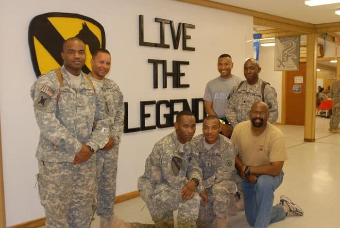 Members of Kappa Alpha Psi fraternity meet weekly at Pegasus dining facility on Camp Liberty, Iraq for fellowship and to discuss plans for upcoming partnership opportunities with the Iraqi community.