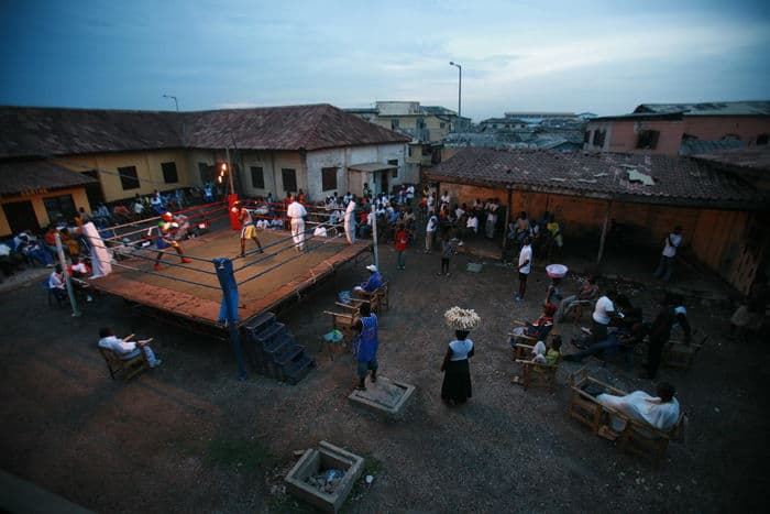 The Fighting Spirit film Boxing in Bukom, Ghana. Photo credit Mark Chilvers