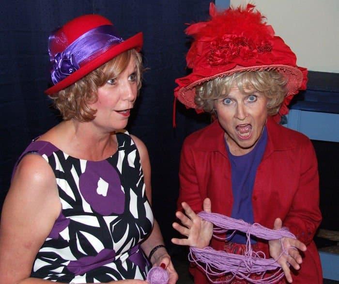 red hat ladies knitting
