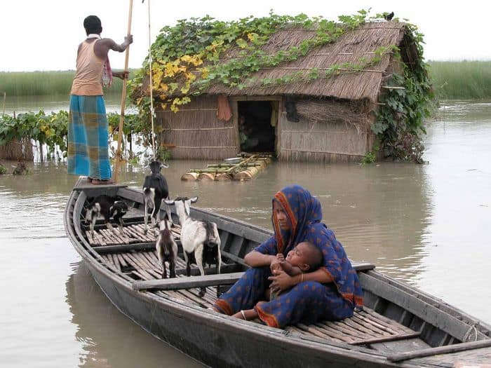 Atwar Ali Sheikh and his wife Akhtar Bano during flood at Ghegamari Char Village