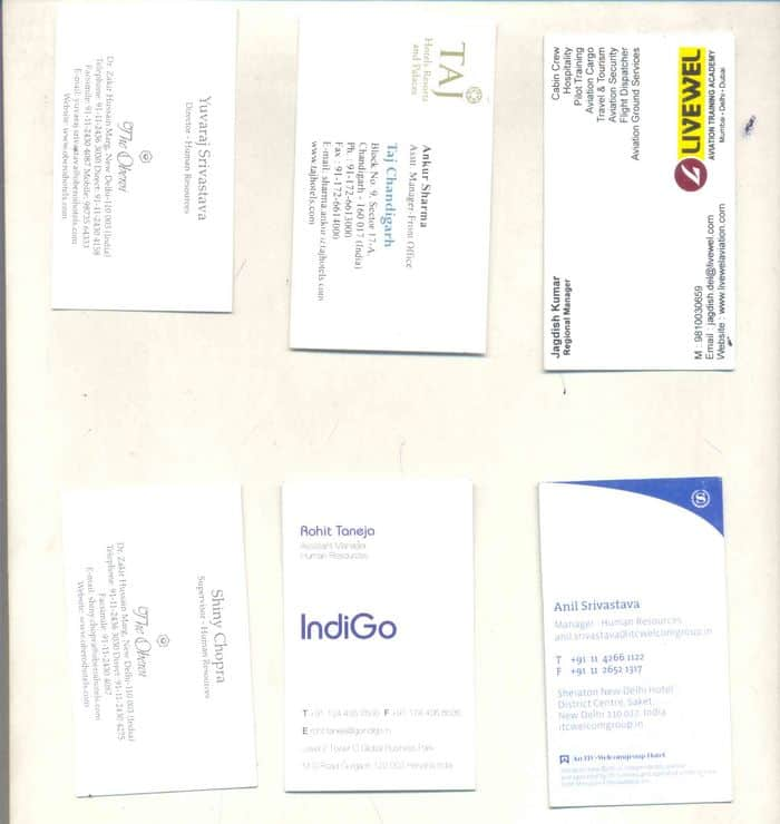 Visiting Cards of HR Heads