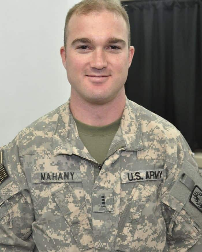 Chief Warrant Officer 3 Ryan Mahany, a C Company, 3rd Battalion, 158 Aviation Regimen instructor pilot, after his promotion ceremony.